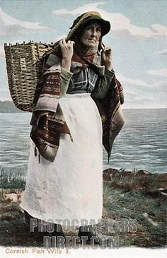 Postcard of Fish wife walking with her basket - Collections - Penlee House Gallery and Museum Penzance Cornwall UK Penzance Cornwall, St Just, Aesthetic Women, Museum, Cornwall England, Postcards For Sale, St Ives, Historical Pictures, Women In History
