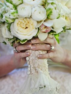 Tip of the Day: Heirloom items are all the rage right now! Add a sentimental touch to your wedding by incorporating your grandmother's or mother's wedding gown in your bouquet handle design or ring bearer's pillow. Odds are that if they've kept it preserved for this long, they would be honored to have you use it for your nuptials, even if you aren't wearing it. We recommend cutting off part of the sleeve, a section of hem, or a swatch from the back (if it's a button-down corset style) to…