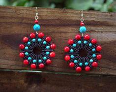 BOHO / BOHEMIAN / TRIBAL Women Macrame Earrings, Bohemian Jewelry, Women Jewellery, Turquoise Red Coral Beads, Silver Wire, 925 silver hooks