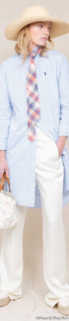 Women Wearing Ties, Style Icons, Polo Ralph Lauren, Ruffle Blouse, My Style, Spring, How To Wear, Clothes, Designers