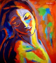 Affordable Original Painting -Acrylic on canvas - Abstract Woman s Portrait by Helena Wierzbicki