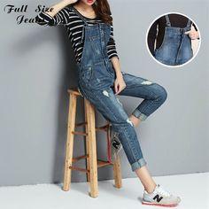 1b9b11bc27e Fall Lente Plus Size Zip Front Ripped Gat Denim Jumpsuits Femme elegante  Overalls En Rompertjes Lange
