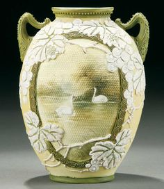 Nippon Moriage Vases | NIPPON MORIAGE AND TAPESTRY VASE : Lot 9