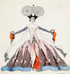 Two Sided Costume Drawing, Georges Barbier, 1920s,