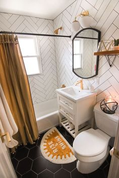 Tiny Home Interior Guest Bathroom Reveal + Links To Decor! Tiny Home Interior Guest Bathroom Reveal + Links To Decor!,Best Bathroom Tiny Home Interior Guest Bathroom Reveal + Links To Decor! Bad Inspiration, Bathroom Inspiration, Bathroom Inspo, Boho Bathroom, Black Bathroom Decor, Bathroom Yellow, Relaxing Bathroom, Simple Bathroom, Colorful Bathroom