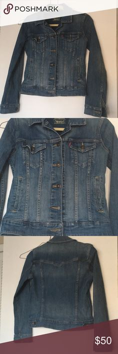 Levi's jean jacket Excellent condition and some wear as is the style, not from use. A little bit of stretch and long sleeves. Great to throw over any outfit or dress. Kind of a medium wash denim. Levi's Jackets & Coats Jean Jackets
