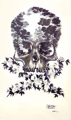 Shukou Tsuchiya - Skull & Bone -   [2004, 800 x 1310mm  Japanese ink on Japanese rice paper]  Price 500,000 yen  SOLD OUT Please check → http://bit.ly/z3vhGT