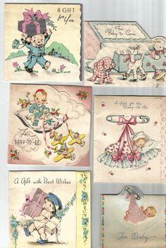 Seis bebés vintage regalo tarjeta descargar perro juguetes aviones digitales…