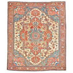 Antique Serapi Carpet -  A light blue rosette-shaped medallion rests inside a larger deep rust multi-sided geometric medallion with pendant anchors which floats on a creamy ivory background. The light palette pairs sky blues with complimentary salmons & rust. This piece exemplifies the sense of color, design & subtle abrash that Serapi carpets are known for. COUNTRY: Persia  CREATION DATE: Late 19th Century, 10 ft. 1 in. x 10 ft. 8 in.    -  Peter Pap Oriental Rugs Inc., San Francisco, CA