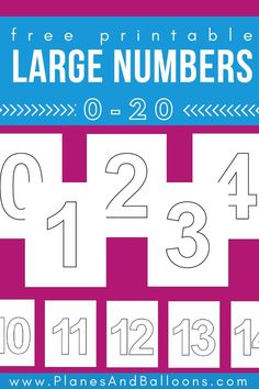 Large printable numbers for simple number activities,Large printable numbers Fun free printable for kids learning math, fine motor skills and number sense. Learning Numbers Preschool, Teaching Numbers, Number Activities, Math Numbers, Preschool Printables, Kids Learning, Free Printables, Printable Bookmarks, Kids Math