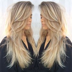 Long Straight Hair with Dynamic Ash-Blonde Coloring and Tons of Layers