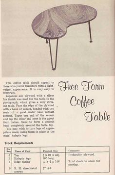 Plans For Building 1950 S Kidney Shaped Coffee Table Populuxebooks Retro Info For Your Mod