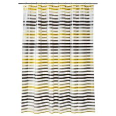 Room Essentials Sripe Shower Curtain - Gray/Yellow