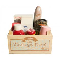 Vintage Food in Grocery Wooden Box - Maileg USA -The Magical World of Maileg Wooden Food, Wooden Boxes, Block Of Cheese, Sugar Frosting, Baby Kind, Toy Boxes, Ketchup, Crates, Kids Toys
