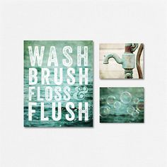 Aqua Bathroom Decor Set Kids Bathroom by LisaRussoFineArt on Etsy