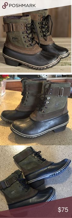 Sorel Army Green Waterproof Boots Super cute Sorel boots! Olive green waterproof upper with brown buckles :) Goes great with jeans and leggings and are super warm! One of the buckles is loose but can easily be sewn back on. This style is hard to find and is a great addition to your winter outfit! Sorel Shoes Winter & Rain Boots