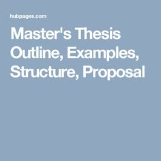 Proposal for masters thesis