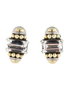 Lagos White Topaz SS 18K Earrings Omega Clip On | eBay