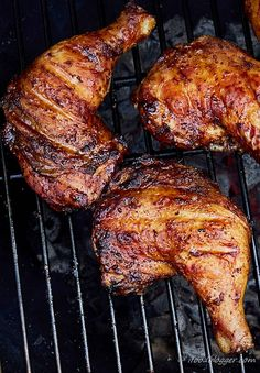 Super easy, super quick and lip-smacking delicious, kickin' grilled chicken legs. It takes only 5 minutes to prepare and 30 minutes to cook.