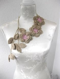 beautiful crocheted flowers and leaves