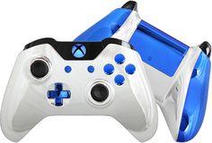 Chrome Xbox One Controller Custom Silver by EvilControllers #CustomControllers #XboxOne #BlueChrome #Handmade