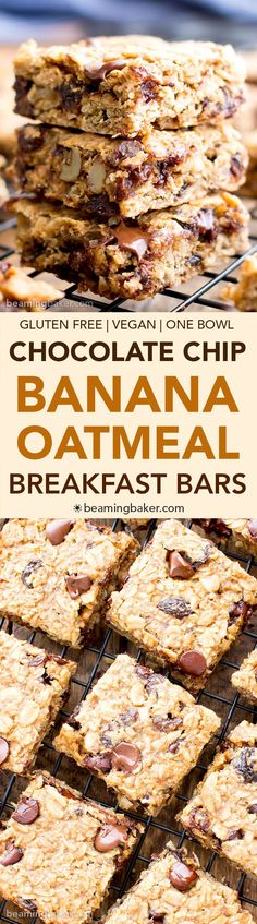 Gluten Free Vegan Banana Chocolate Chip Oatmeal Breakfast Bars #DairyFree | Beaming Baker