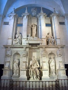 Michelangelo, The Tomb of Pope Julius II, c. 1545, with statues of Rachel and Leah on the left and the right of his Moses.