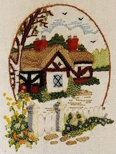 COTTAGE-House-Floral-FINISHED-Completed-Wall-Art-Vintage-Hand-CREWEL-Embroidery