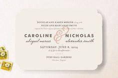 """Delicate Ampersand"" - Customizable Wedding Invitations in Pink by Olivia…"
