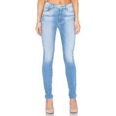 7 For All Mankind The High Waist Skinny ($198) ❤ liked on Polyvore featuring jeans, skinny leg jeans, 7 for all mankind, high-waisted skinny jeans, highwaist jeans and blue high waisted jeans