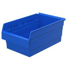 """Akro Mils ShelfMax8 Shelf Bin in 8"""" H x 11.13"""" W x 11.63"""" D (Set of 4) Color: Blue"""
