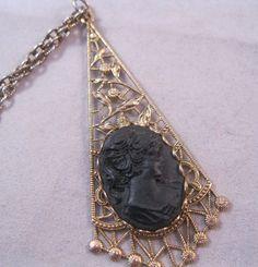 1960s Black Cameo Pendant Necklace SALE by BrightEyesTreasures, $12.99