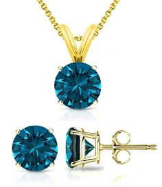 PARIKHS Round Cut Blue Diamond Solitaire Pendant  Diamond Stud Set AAA Quality in Yellow Gold 030 ctw * Read more reviews of the product by visiting the link on the image.(This is an Amazon affiliate link)