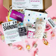 Cheer Up Care Package to bring a little sunshine for a friend going through a hard time.    Send one via The Confetti Post