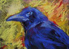Raven up close, painting by artist Karen Margulis