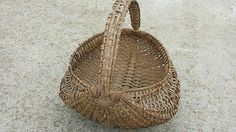 1800s Antique Primitive Vintage Handmade Woven Large Basket Handle Oak Dispaly | eBay