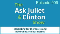 In episode 9 Juliet and Clinton answered questions about using twitter for marketing, whether therapists or natural health businesses need a logo for their practice, and how often one should blog. Can one just post to one's blog occasionally, or do you need to post regularly? Get the show notes for this episode at http://www.askjulietandclinton.com/9 Get weekly show updates via email at http://www.askjulietandclinton.com/updates