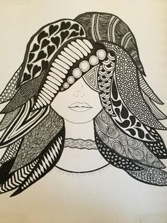 Zendoodle, zentangle ideas. This is my 80s gal doodled out