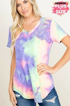 V Neck Tops, Polyester Spandex, Tie Dye, Sleeves, Model, How To Wear, Medium, Style, Fit