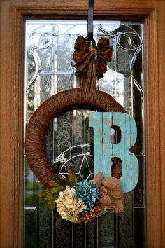 Any Day Wreath, Country Wreath, Year Around Wreath, Housewarming Gift. $60.00, via Etsy.