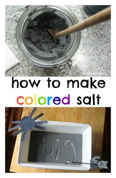 how to make colored salt - great for sensory play, and in a writing tray for sensory learning