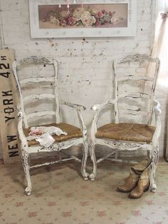 Painted Cottage Chic Shabby Farmhouse Chair by paintedcottages