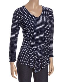 Another great find on #zulily! Navy & White Dot Tiered Scoop Neck Top #zulilyfinds