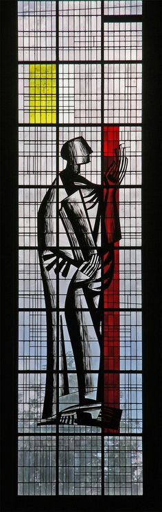 Stained glass by Maurice Rocher, 1957, in the church of St. Louis, Brest, France.