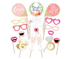 Printable Bridal Shower Photo Booth Props - Bride Photobooth Props - Bachelorette Printable Props - Bachelorette Party - Blush Gold Pink Set