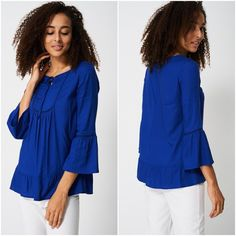 Blue Smock Top Blouse Festival Fluted Sleeve Sizes Womens NEW Boho Hippie Bohemian Tops, Hippie Festival, Boho Hippie, Body Shapes, Smocking, Bell Sleeve Top, Ruffle Blouse, Plus Size, Casual