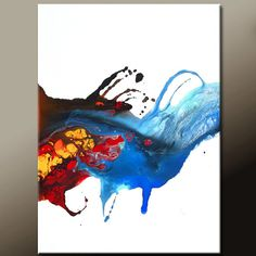 Fire & Ice - NEW Abstract Modern Art Painting  Original Contemporary by wostudios, $69.00