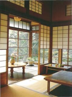 Traditional Japanese house interior. It's so open and in harmony with the nature.