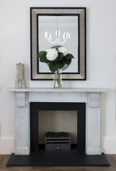 Victorian marble fireplace surround, new black slate hearth and slips