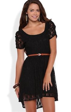 Deb Shops Lace High Low Dress with Ruched Sleeves and Belted Waist $35.00